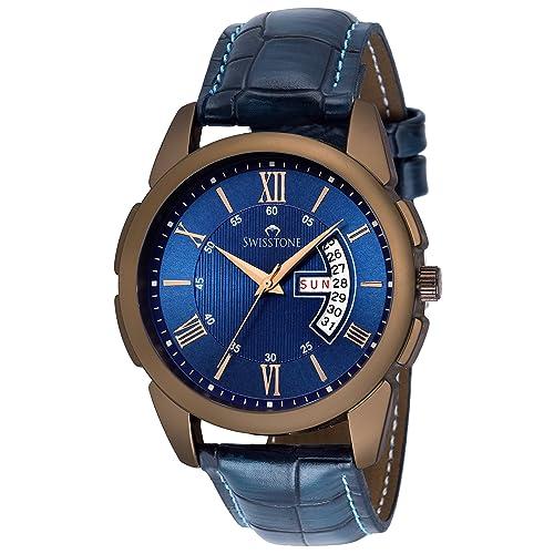 Swisstone BW145-BLUE Blue Leather Strap Wrist Watch for Men