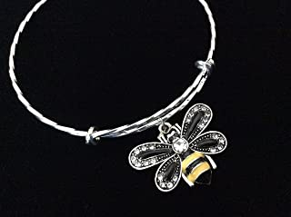 Crystal Bee Charm on a Twisted Silver Expandable Charm Bracelet Stackable Bangle
