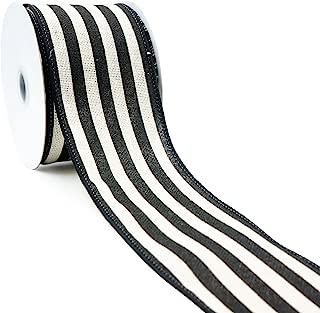 CT CRAFT LLC Ivory Canvas with Black Stripe Wired Ribbon -2.5 inch x 10 Yards