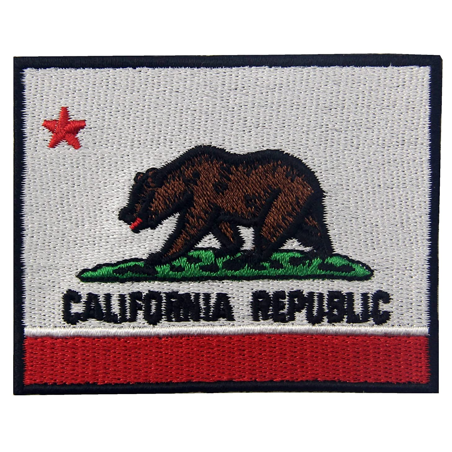 EmbTao Embroidered California State Flag Iron On Sew On Patch CA Emblem