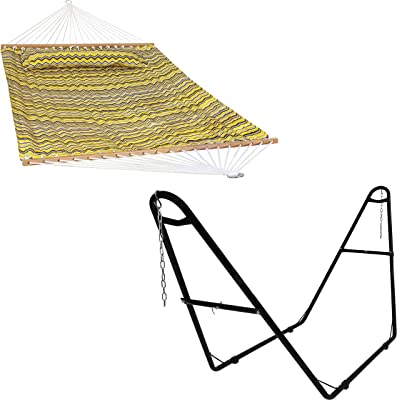 Sunnydaze Yellow and Gray Chevron 2-Person Quilted Printed Fabric Spreader Bar Hammock and Pillow with S Hooks and Hanging Chains and 450-Pound Capacity Black Heavy-Duty Steel Hammock Stand Bundle