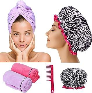 Toalla de pelo de microfibra Turban Wrap - 2 Pc Head Wraps para mujer Incluido con Gorro de ducha y peine para mujer Anti-Frizz Absorbente Twist Secado Gorro de ducha Funciona como Magic Quick Dry