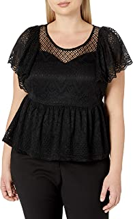City Chic Women's Apparel Women's Plus Size Peplum top with Sweetheart Neckline and lace Overlay