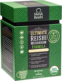 Ultimate Reishi Mushroom Formula by Mehdi Reishi – 30 Servings, 1,000mg-100% Pure, Authentic, Organic Spores & Extract-Ganoderma Lucidum, Lingzhi - High Potency Triterpenes, Beta-Glucans