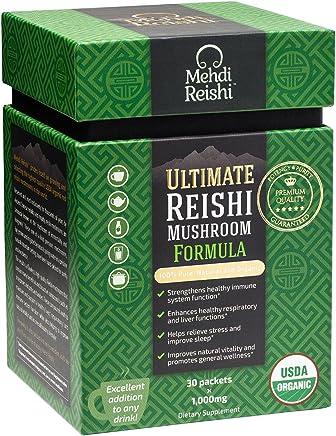 Ultimate Reishi Mushroom Formula by Mehdi Reishi – 30 Servings, 1,000mg-100% Pure, Authentic, Organic Spores & Extract-Ganoderma Lucidum, Lingzhi - High Potency Triterpenes, Beta-Glucans