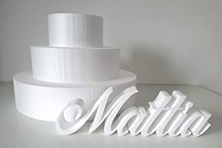FoamArt - BASI IN POLISTIROLO PER TORTE kit 3 pezzi rotondo, ideali per gomme crepla eva, Fommy, cake design, torta finta ...