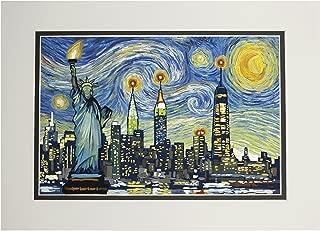 New York City, New York - Skyline - Van Gogh Starry Night (11x14 Double-Matted Art Print, Wall Decor Ready to Frame)