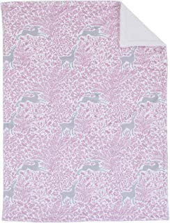 Dwell Studio Sweet Fawn Deer/Forest Double Sided Super Soft Velboa/Sherpa Baby Blanket, Lavender/Gray/White