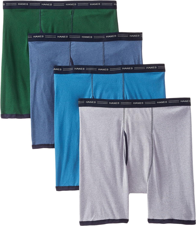 Hanes Men's 4-Pack No Ride Up Boxer with ComfortFlex Waistband Briefs