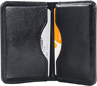 Business Card Holder, Wisdompro 2-Sided PU Leather Folio Name Card Holder Wallet Case with Magnetic Shut for Men and Women, Ultra Slim and Thin - Black