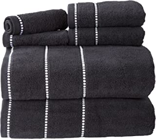 Lavish Home Quick Dry 100Percent Cotton Zero Twist 6Piece Towel Set - White Black