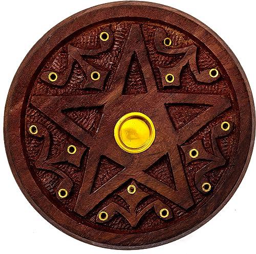 Alternative Imagination Pentagram Round Wooden Incense Holder for Incense Sticks and Cones