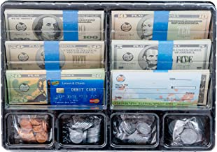 Learn & Climb Play Money Set for Kids – Realistic Dollar Bills, Coins, Credit & Debit Cards & Checkbook. Add-on for Pretend Play Cash Register