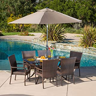 Patio Furniture Sets,Contemporary, Modern, Littleton,Brown, Patio Furniture Dining Set, Rectangular ,Patio Dining Set,Cast and Wicker 7-piece Dining Set