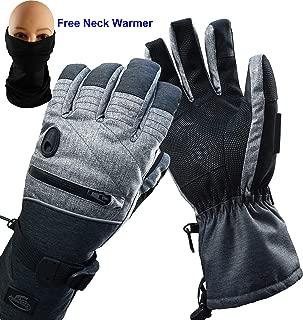 HIGHLOONG Men Ski Snowboard Gloves Waterproof Melange Hand and Neck Warmer Set (L)