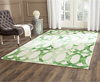 Safavieh Dip Dye Collection DDY675B Handmade Geometric Watercolor Ivory and Green Wool Area Rug (5' x 8')