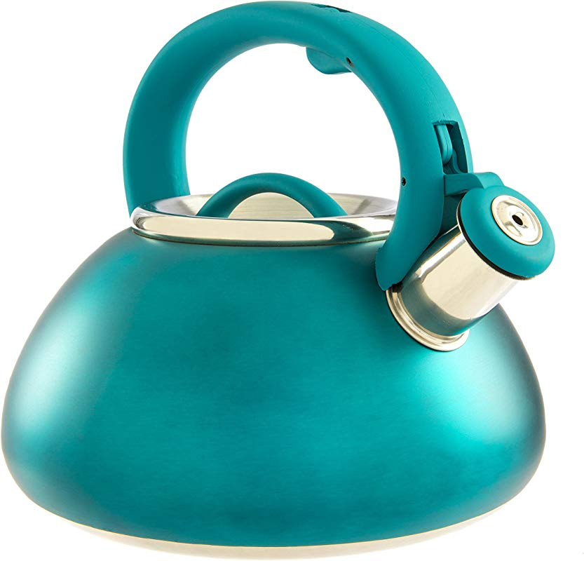 Primula Avalon Whistling Kettle Whistling Spout Locking Spout Cover And Stay Cool Handle Stainless Steel 2 5 Quarts Matte Teal