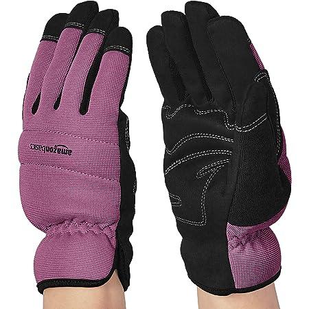 Amazon Basics Women's Work or Garden Gloves, Purple, L