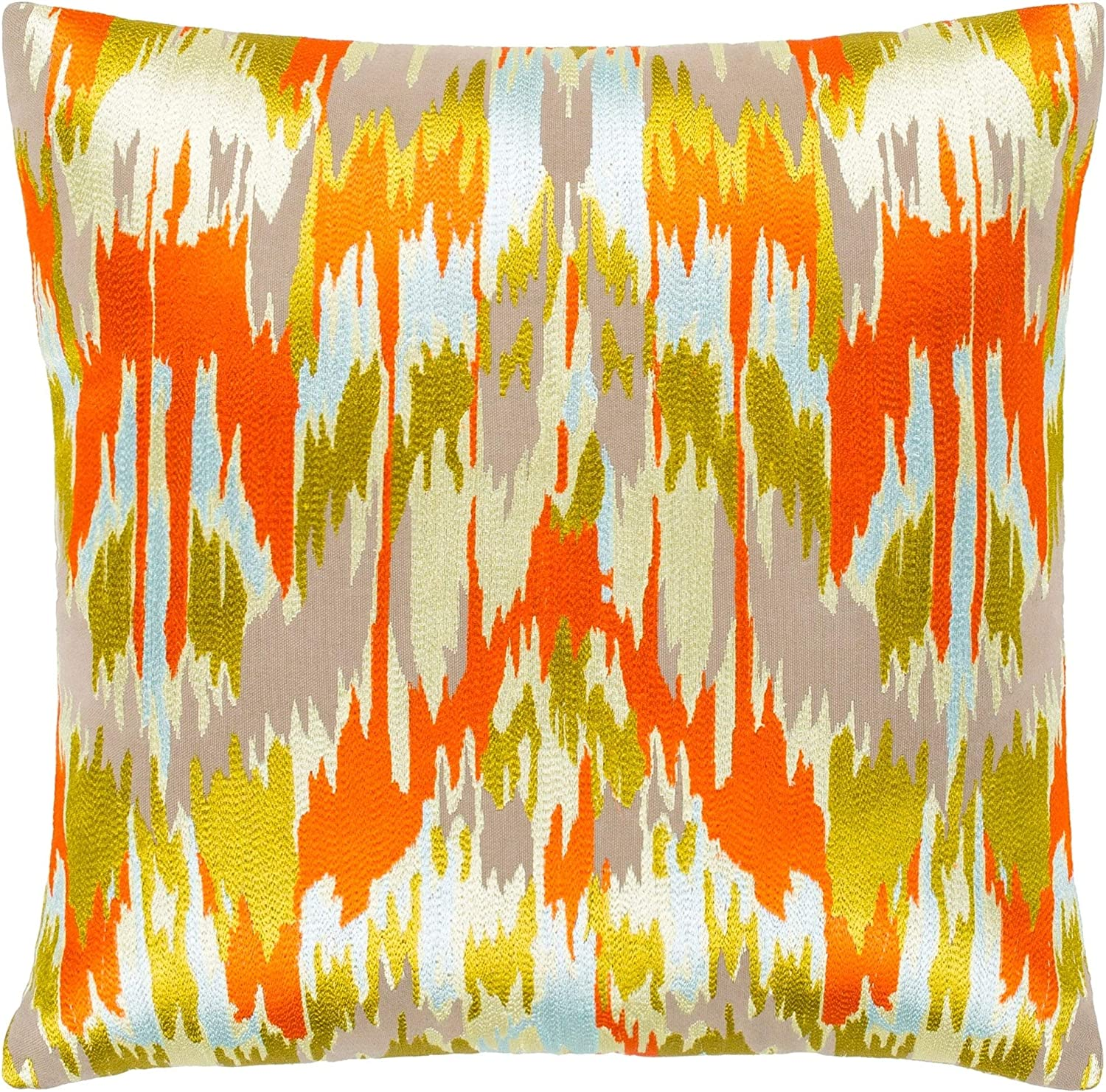 MISC Orange Lime Embroidered Ikat Down Throw Feather 20
