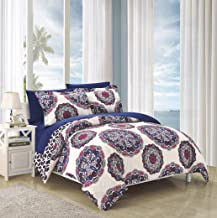Chic Home Ibiza 3 Piece Duvet Cover Set Bedding with Decorative Shams, King, NAVY