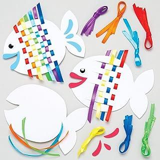 Baker Ross Kits de poissons arcs-en-ciel à tresser (Lot de 6) - Kits de loisirs créatifs d'été à confectionner pour enfant