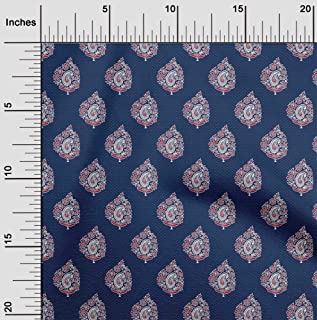 oneOone Viscose Chiffon Navy Blue Fabric Leaves & Floral Block Craft Projects Decor Fabric Printed by The Yard 42 Inch Wide