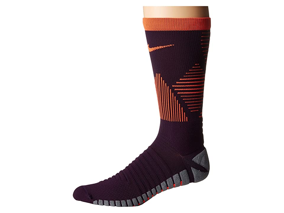 Nike Strike Mercurial Soccer (Grand Purple/Total Crimson/Total Crimson) Crew Cut Socks Shoes