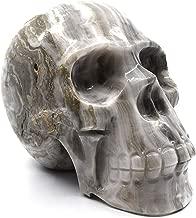 Earthen Gray Onyx Aragonite Skull Figure, 4.5