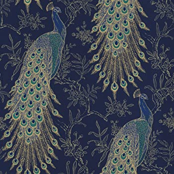 Rasch U K Limited Rasch Portfolio Peacock Wallpaper Navy Blue Gold Metallic Exotic Bird Feathers Lusury Feature Wall 10m Roll 215700 Amazon Co Uk Diy Tools