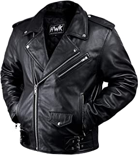 Leather Motorcycle Jacket For Men Moto Riding Cafe Racer Vintage Brando Biker Jackets CE Armored (XL)