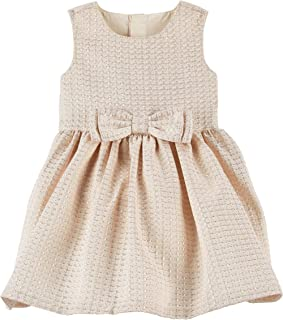 Jacquard Bow Gold Holiday Dress 9 Months
