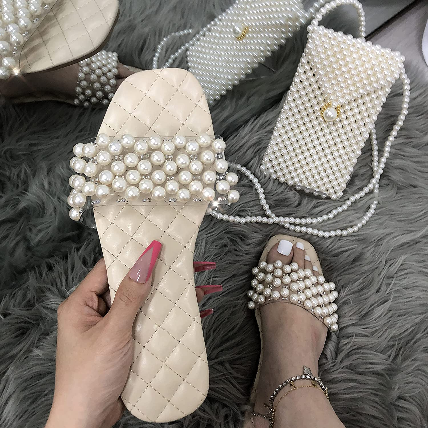Womens Summer Glitter Candy Color Chain Clear Slides Flat Low Wedge Sparkle Sandals Shoes (Pearl Beige, small)