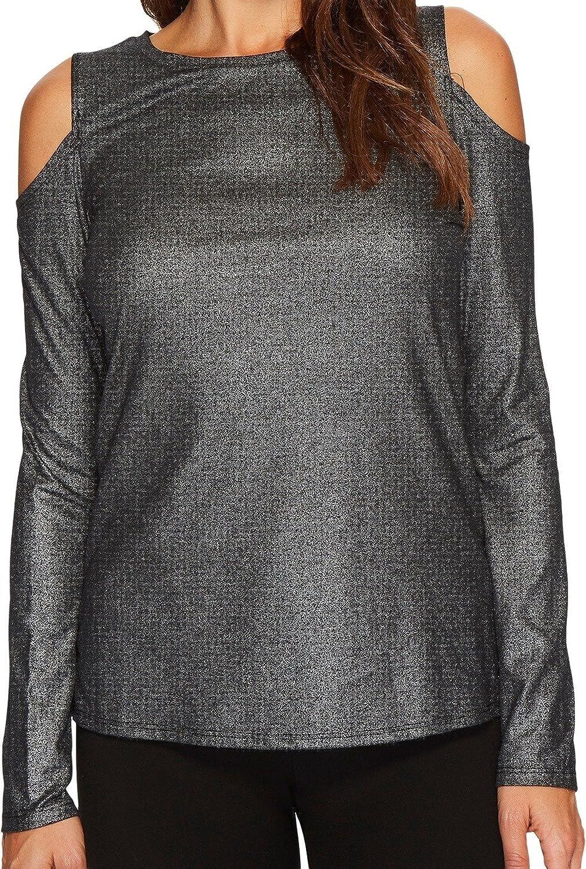 Ivanka Trump Womens Knit Cold Shoulder Long Sleeve Metallic Shirt