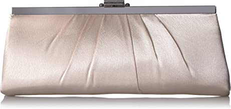 Jessica McClintock Blaire Womens Satin Frame Evening Clutch Bag Purse With Shoulder Chain Included