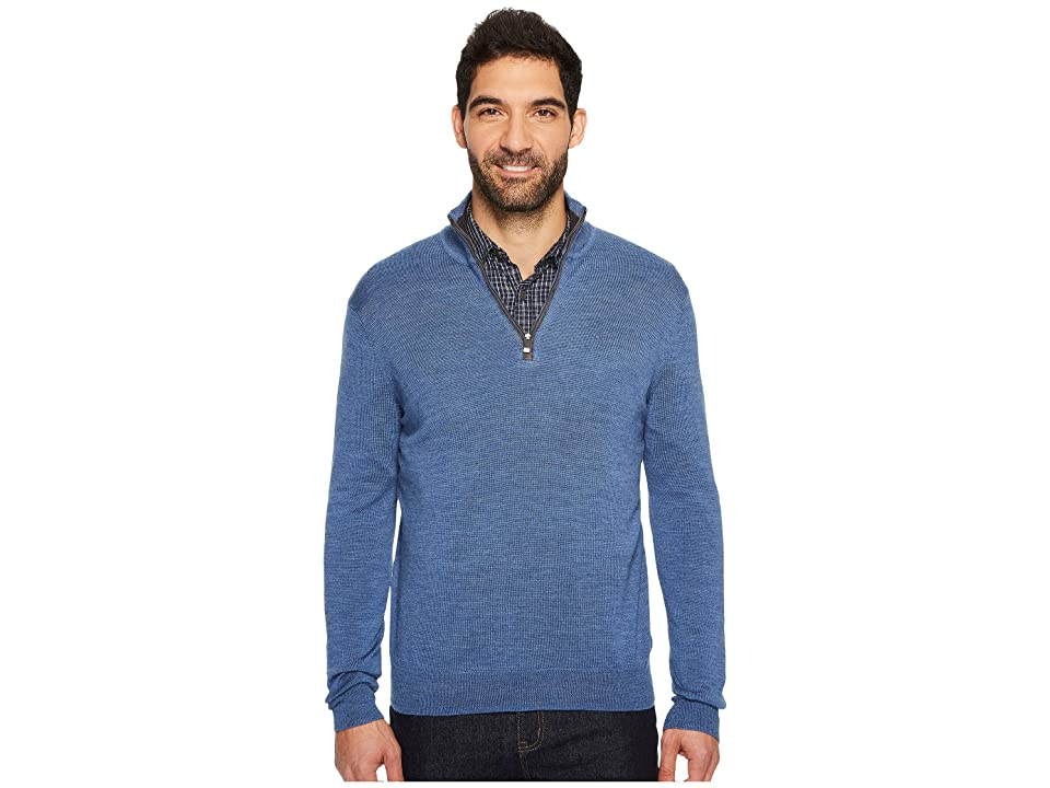 Calvin Klein Merino End on End 1/4 Zip Sweater (Shuttle Heather) Men