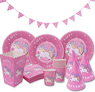Pink Unicorn Party Supplies Decorations Birthday Kit Set for Girls -Serves 12- by Party Box