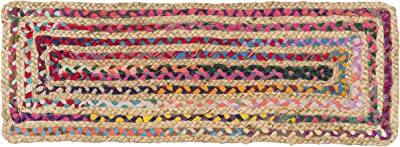 Madhu International Natural Jute Table Runner Rug, Long-Lasting Hand-Woven Rectangular Area Rug, Made from Jute Material for Indoor & Covered Door Entrances, 13 X 46 Inch, Multicolour