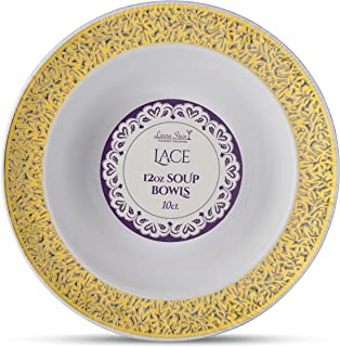 [40 Count - 12 Oz Bowls] Laura Stein Designer Tableware Premium Heavyweight Plastic White Soup Bowl With Gold Designed Border, Party & Wedding Plate lace Series Disposable Dishes
