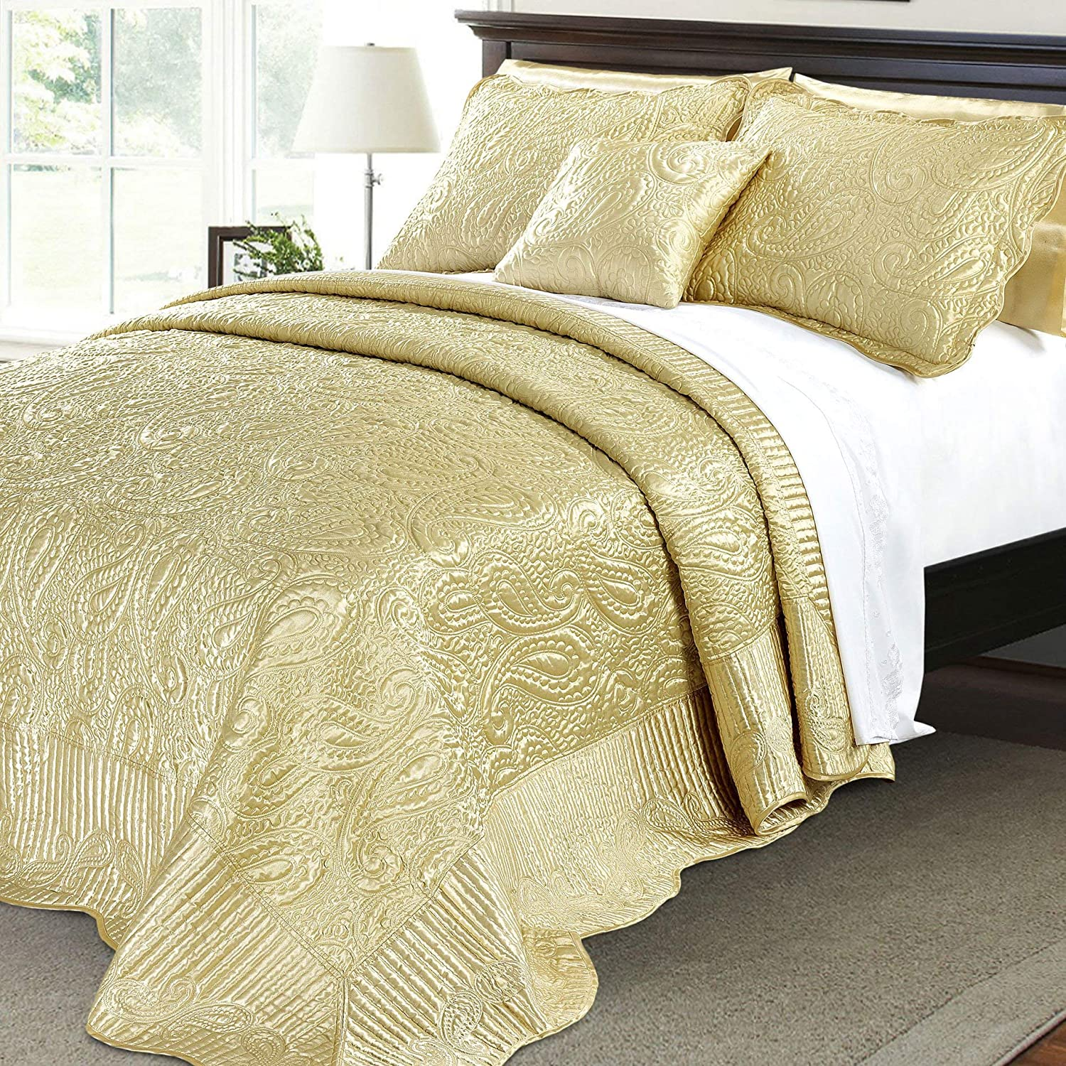 Serenta Quilted Satin 4 Piece Bedspread Set, King, gold
