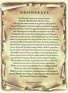 Desiderata Poem by Max Ehrmann. Gold Leaf Accent Antique Scroll Design on Archival Parchment Paper Imported from Florence Italy.