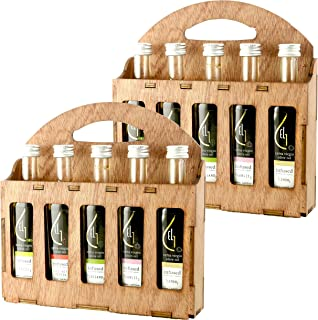 Pellas Nature   Fresh Organic Herbs Infused Greek Extra Virgin Olive Oil   5 infused Flavors in French Glass bottles   Finishing oil   Wooden Gift Set   5 X 1.7oz Each   Pack of 2
