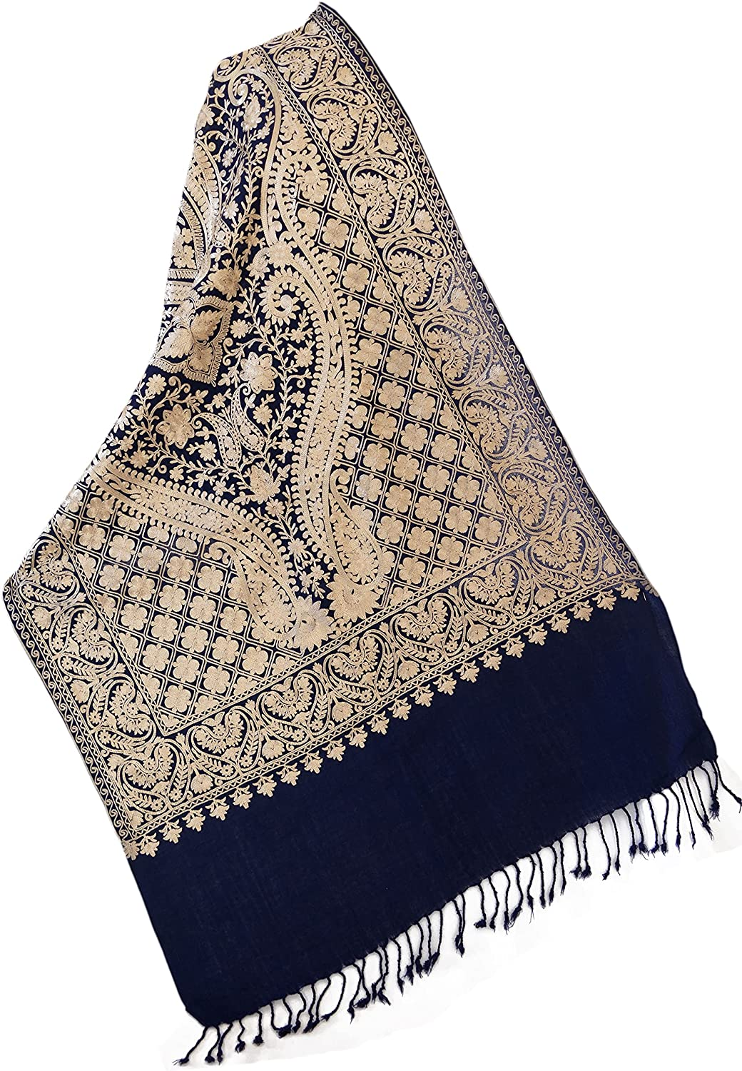 Dense Crewel Ari Embroidery Gold on Navy Wool Shawl in Floral Pashmina 80