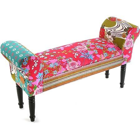 Versa Pink Patchwork Tabouret Pied de lit pour la Chambre, Banc pour Le Hall ou l'entrée, avec accoudoir, Dimensions (H x l x L) 53 x 32 x 100 cm, Coton et Bois, Couleur: Rose