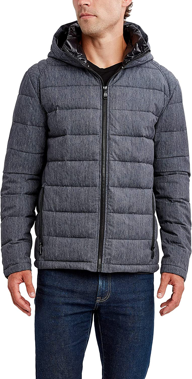 HFX Men's Poly Stretch Puffer Jacket with Hood