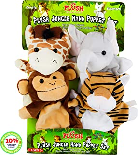 Hand Puppets for Kids, Set of 4 Plush Safari Animals Hand Puppet Toys for Boys and Girls, A Giraffe, Elephant, Tiger, Monk...