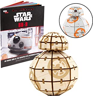 Star Wars: The Last Jedi BB-8 Book and 3D Wood Model Figure Kit - Build, Paint and Collect Your Own Wooden Movie Toy Model - for Kids and Adults - 12+ - 2