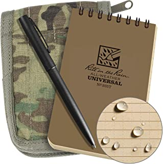 "Rite in the Rain Weatherproof 3"" x 5"" Top Spiral Notebook Kit: MultiCam CORDURA Fabric Cover, 3"" x 5"" Tan Notebook, and We..."