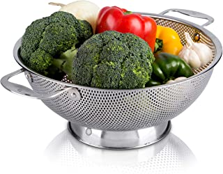 LiveFresh Stainless Steel Micro-Perforated 5-Quart Colander - Professional Strainer with Heavy Duty Handles and Self-drain...