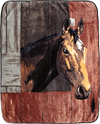 Northpoint Printed Raschel Animal Throw,  Bay in Barn