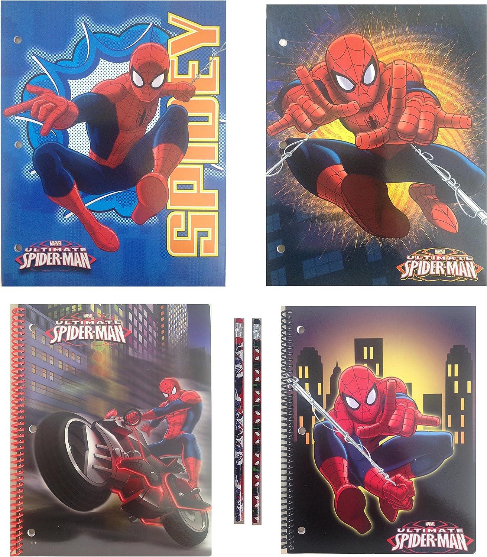 Licensed Character School Supplies Bundle of 6 Items  Pocket Folders, Spiral Notebooks, Pencils (Spiderman)